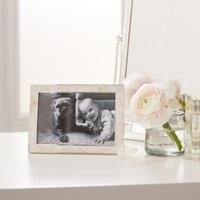 """Mother of Pearl Photo Frame 4x6"""" , White, One Size"""