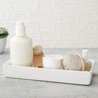 Newcombe Ceramic Rectangular Tray, White, One Size