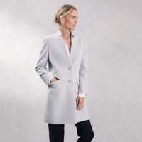 Notch-Neck Wool Coat, Pale Blue, 12
