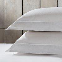 Somerton Stripe Oxford Pillowcase with Border – Set of 2, White/Soft Grey, Super King