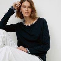 Organic Cotton Jersey Double Layer T-Shirt, Navy, 4