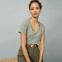 Organic Cotton Jersey V-Neck T-Shirt, Sage, 8