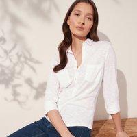 Organic Cotton Rib-Pocket Jersey Shirt , White, 4