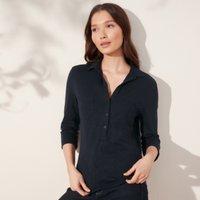 Organic Cotton Rib-Pocket Jersey Shirt , Navy, 18