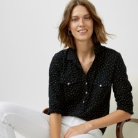 Organic Cotton Spot Print Jersey Shirt, Black, 14