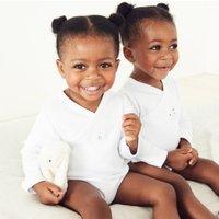 Organic Cotton Wrap Bodysuit - Set of 2, White, 3-6mths