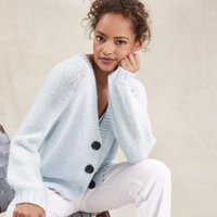 Oversized Cardigan with Wool, Pale Blue Marl, Large