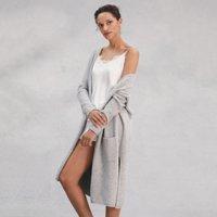 Oversized Side Split Cardigan, Pale Grey Marl, Extra Large