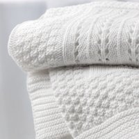 Knitted Patchwork Baby Blanket, White, One Size