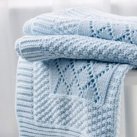 Knitted Patchwork Baby Blanket, Blue, One Size