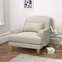 Petersham Cotton Armchair, Silver Cotton, One Size