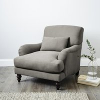 Petersham Cotton Armchair, Grey Cotton, One Size