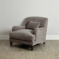 Petersham Velvet Armchair, Silver Grey Velvet, One Size