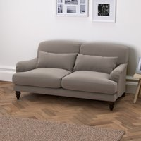 Petersham 2 Seater Velvet Sofa - Natural Oak, Silver Grey Velvet, One Size