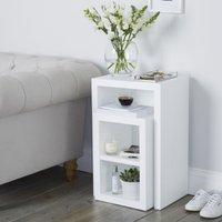 Pimlico Narrow Cube Nest Table - Set of 2, White, One Size