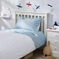 Planes Applique Bed Linen Set, Blue, Cot Bed