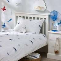 Planes Easycare Bed Linen Set, White, Cot Bed