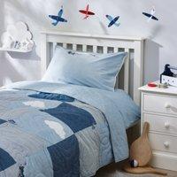Plane Print Quilt, Blue, Cot Bed
