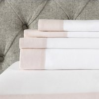 Portobello Flat Sheet, Petal Pink/White, King