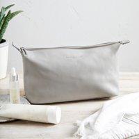 Pebblegrain Leather Wash Bag, Grey, One Size