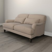 Petersham 2 Seater Velvet Sofa - Natural Oak, Stone Velvet, One Size