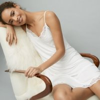 Pin-Dot Lace-Trim Nightie, Ivory, Small