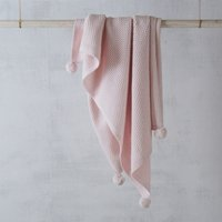 Pink Cotton-Cashmere Pom-Pom Blanket, Pink, One Size