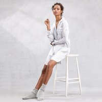 Piped Silk Nightshirt, Blue Stripe, Extra Small