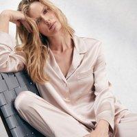 Piped Silk Pyjama Set, Vintage Pink, Medium