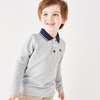 Piqué Polo Shirt (1-6yrs), Grey, 1-1 1/2yrs