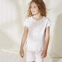 Pointelle Shortie Pyjamas (1-12yrs), White, 2-3yrs