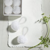 Pom-Pom Present Topper - Set of 6, White, One Size