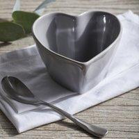 Porto Stoneware Heart Ramekin, Grey, One Size