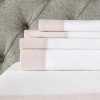 Portobello Flat Sheet, Petal Pink/White, Super King