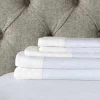 Portobello Flat Sheet, White Blue, Super King