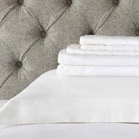Portobello Gingham Flat Sheet, White, Single