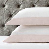 Portobello Oxford Pillowcase with Border - Single, Petal Pink/White, Super King