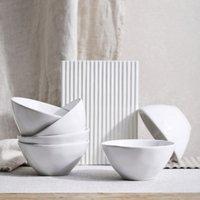 Portobello White Cereal Bowl – Set of 6, White, One Size