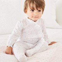Posey Floral Frill Sleepsuit, White, 0-3mths