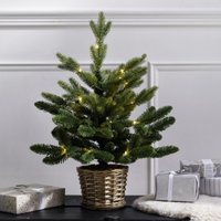 Pre-Lit Christmas Tree in Willow Basket - 1.5ft, Natural, One Size