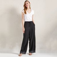 Printed Wide-Leg Trousers, Black, 4