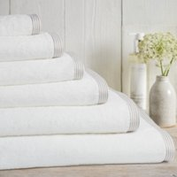 Putty Stripe Border Towels, White-Putty, Hand Towel