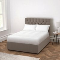 Richmond Velvet Bed - Headboard Height 130cm, Silver Grey Velvet, Double
