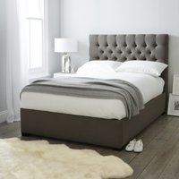 Richmond Cotton Bed - Headboard Height 130cm, Grey Cotton, Double