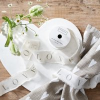 Script Fabric Ribbon - 5m , White, One Size
