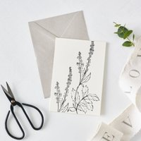 Agrimony Flower Outline Card, White, One Size
