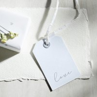 Love Script Gift Tag - Set of 10 , White, One Size