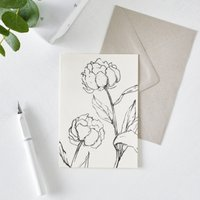 Peony Flower Outline Card, White, One Size