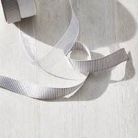 Grosgrain & Organza Ribbon – Set of 2 -5m, White Silver, One Size