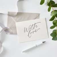 With Love Script Card, White, One Size